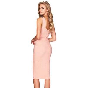 Image 5 - Seamyla 2020 nowa sukienka bandaż kobiety bez rękawów impreza celebrytów sukienki Sexy wino czerwone czarne morele Vestido wyjściowa sukienka klubowa