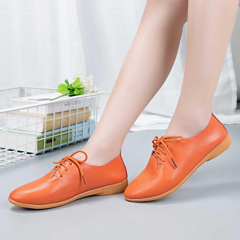 Giày Tây Nam Da Thật Chính Hãng Da Giày Việt Nam Người Phụ Nữ Plus 44 Buộc Dây Mũi Nhọn Nữ Giày Mọi Moccasin Shoes Cho Nữ Mềm Mại Chống Trượt Đế Bằng Nữ 2020 Mới