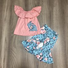 Lente/Zomer Pasen Coral Blue Bunny Top Bloem Capri Baby Meisjes Kleding Katoen Ruches Boutique Set Kidswear