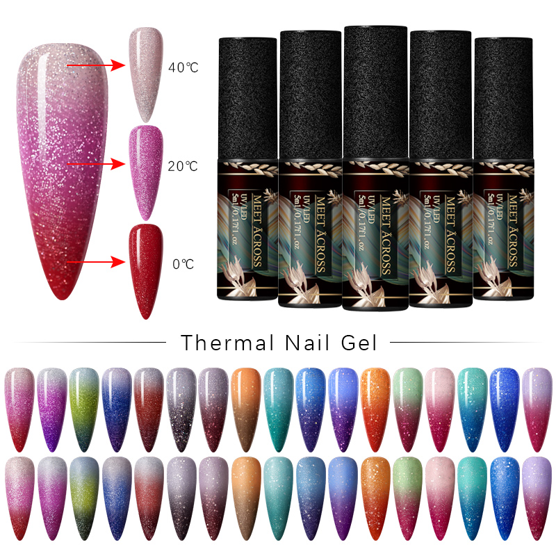 MEET ACROSS 5ml Thermal Color Changing Gel Nail Polish Holographic Glitter Temperature Soak Off UV Gel Varnish Nail Art DIY