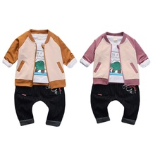 Spring Autumn Casual Baby Boys Clothing Cartoon Printing Long Sleeve Top And Outerwear Trousers Kids Three-piece Outfit Set