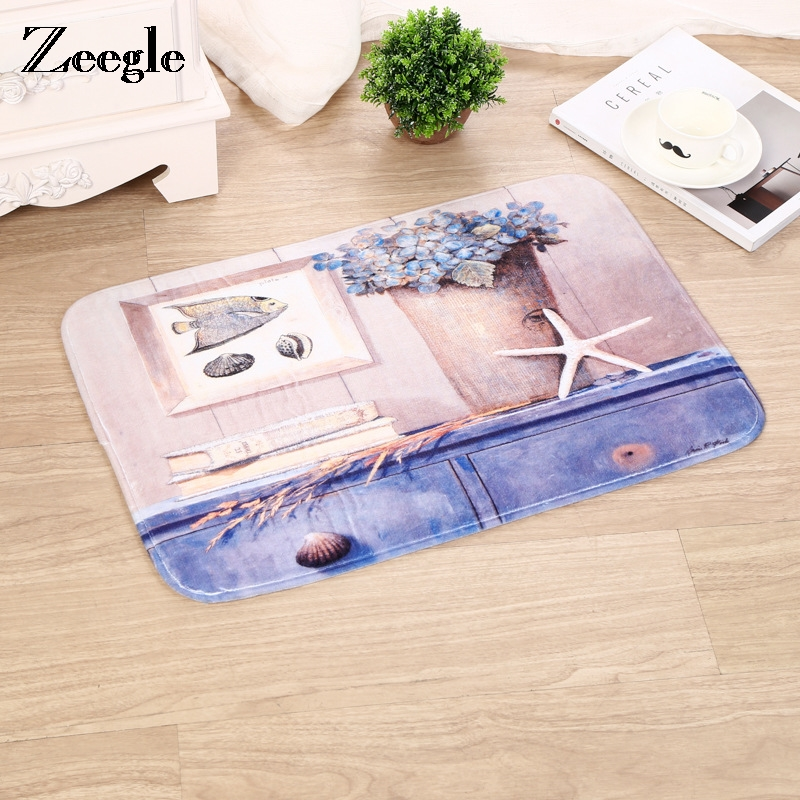 Zeegle Marine Series Entrance Door Mat Slip Resistant Corridor Rug Bedroom Bedside Mats Absorbent Mats For Bathroom Kitchen Rugs image