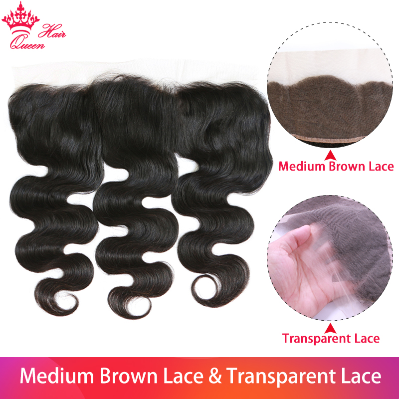 Queen Hair Products Body Wave Transparent Lace Frontal Closure 13x4 Brazilian Virgin Hair Natural Color 100