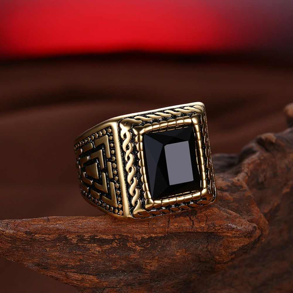 Quadrado preto pedra anel de vedação masculino anel signet cor ouro clássico casamento banda anéis masculinos titânio aço inoxidável biker banda dcr065