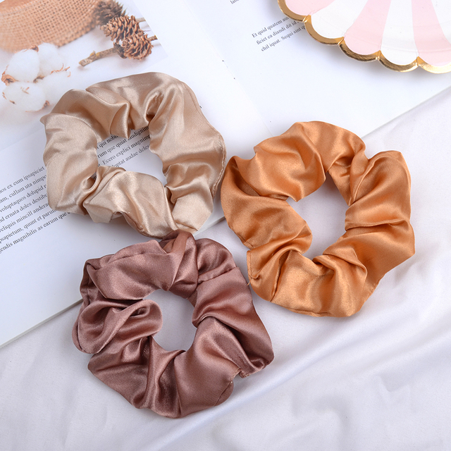 3.9 inch Women Silk Scrunchie Elastic Handmade Multicolor  Hair Band Ponytail Holder Headband Hair Accessories 3