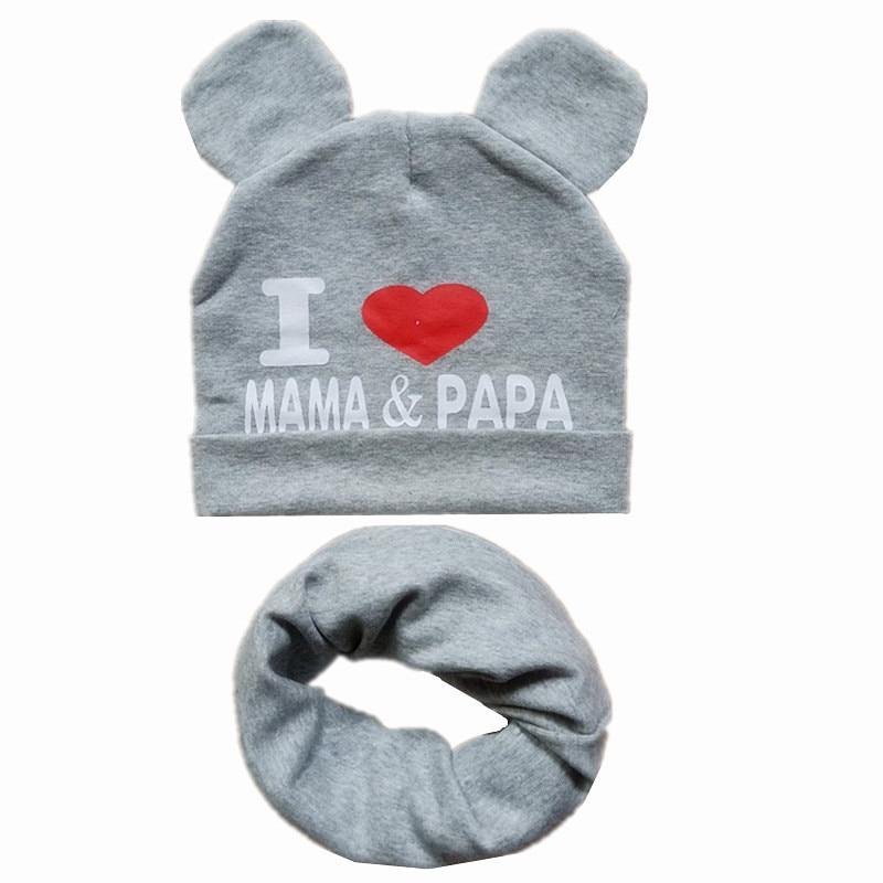 Spring Autumn Children Cotton Hat Scarf Set Love Mom Print Boys Girls Hats Bibs Child Neck Scarf Cap Kids Beanies Photo Props