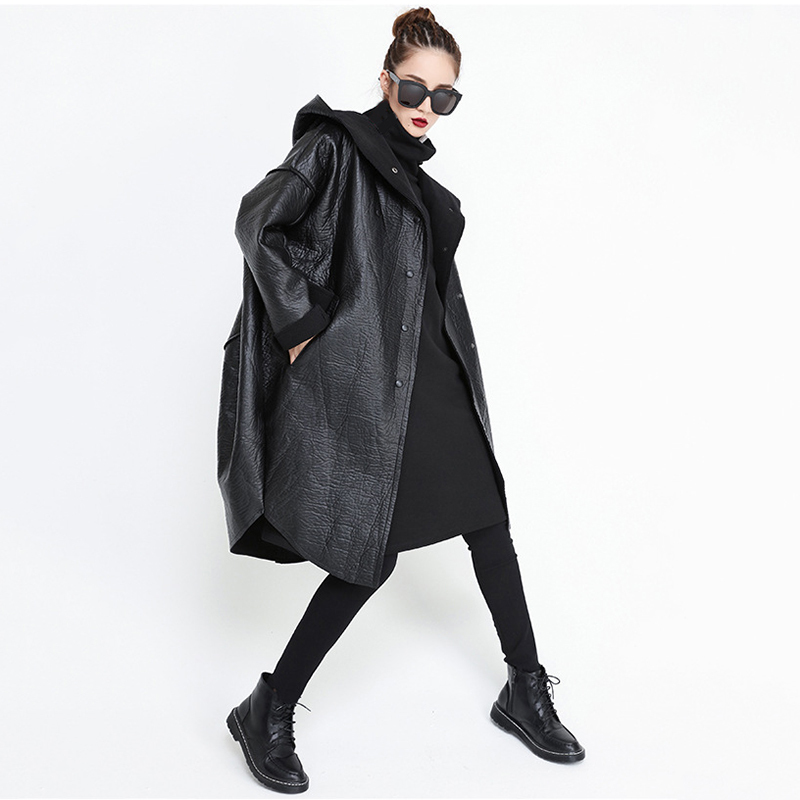 [EAM] Loose Fit Hooded Black Pu Leather Thick Oversize Jacket New Long Sleeve Women Coat Fashion Tide Autumn Winter 19 JG637 5