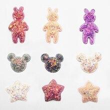10pcs/bag Glitter Crafts Rabbits Stars Cheap Appliqued DIY Craft Manualidades Supplies Handmade Wedding Decoration Sewing