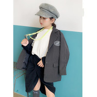 Girls baby blazer coats spring autumn new casual style striped balck blazer jackets outerwear tops for children clothes ws968