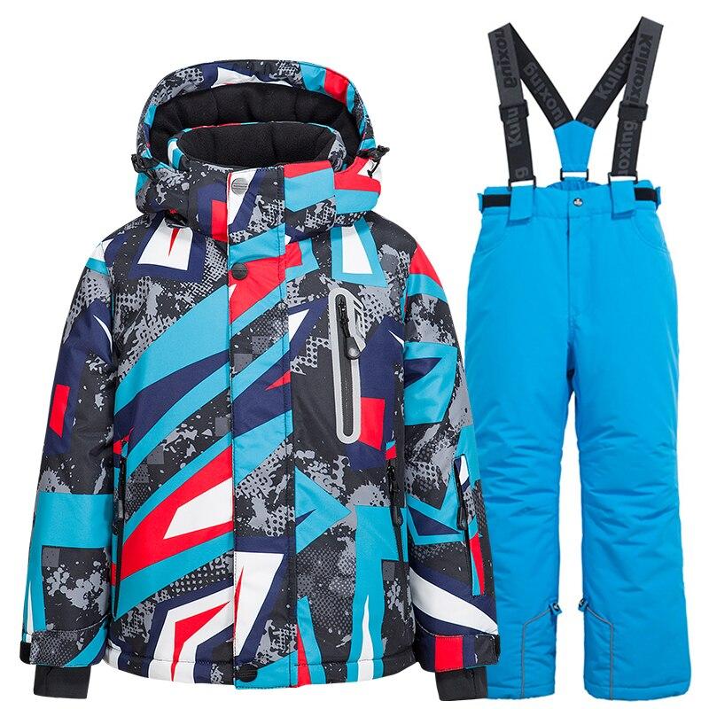 Kid Ski Suit -30 Windproof Waterproof Warm Jacket and Ski Pants Children's Outdoor Snow Suit Winter Thicken Snowboard Jacket