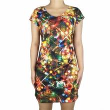 цены Cute Christmas Tree Printed Christmas Dress for Women Elegant Ladies Xmas Holiday Party Dresses Plus Size