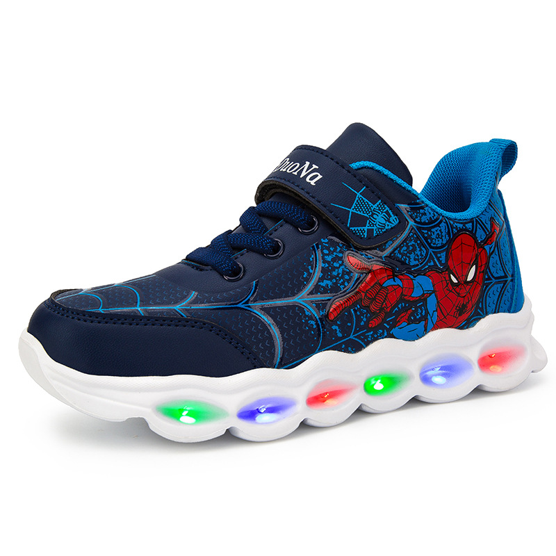 EU Size 25-35 Spiderman Led Shoes Luminous Sneakers Girl Boys Sneaker Child Sport Casual Shoes Lighted Lighting