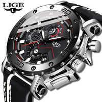 LIGE Sport Uhr Männer Top Marke Leder Uhren Männer Quarz Uhr Männliche Militärische Wasserdichte Student Mode Uhr Relogio Masculino