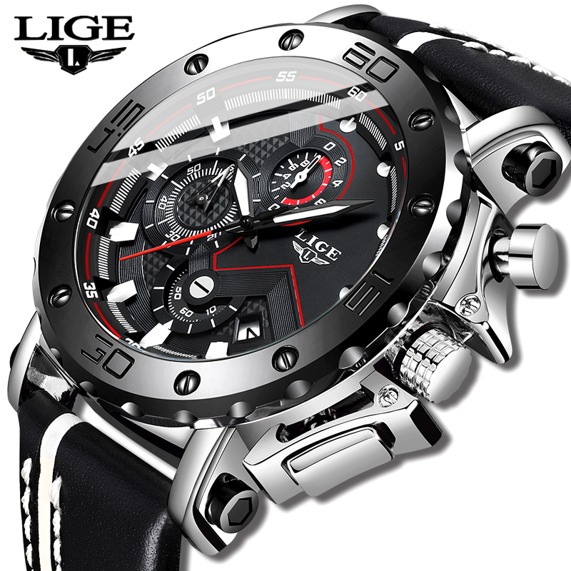 LIGE Sport Watch Men Top Brand Leather Watches Men Quartz Clock Male Military Waterproof Student Fashion Watch Relogio Masculino