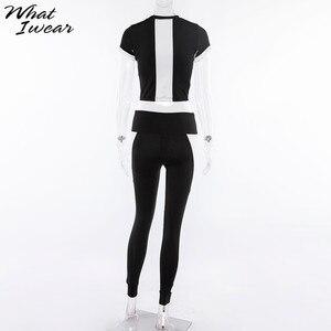 Image 5 - Vrouwen Basic Elastische Slanke Fitness Dragen Twee Stukken Sets Nieuwe Populaire Patchwork Zwart Wit Tops T shirt Sport Leggings