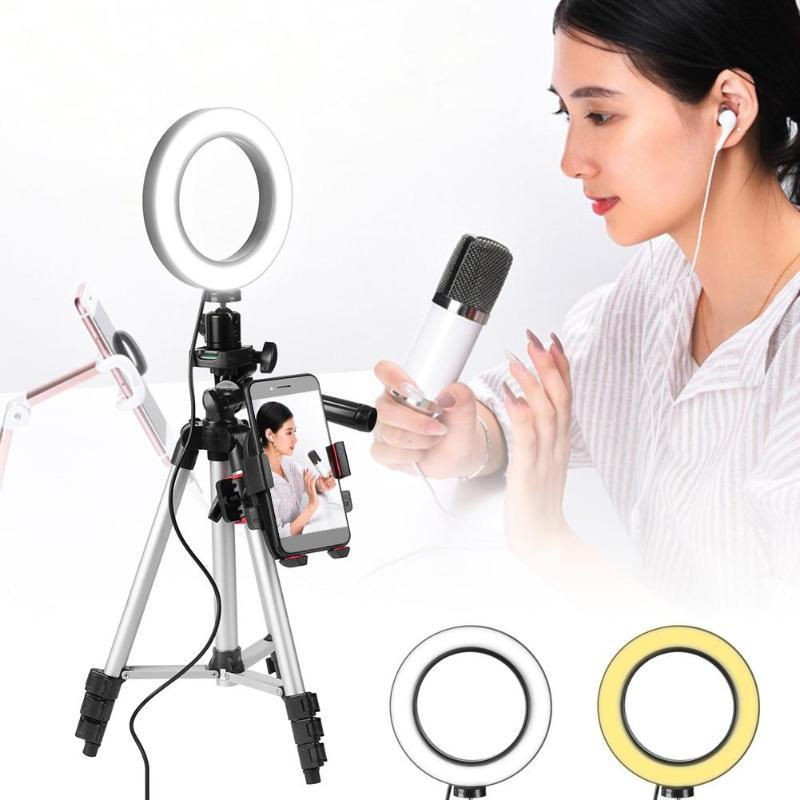 LED Ring Light Tripod Camera Photography Dimmable Selfie Video Light With Phone Holder WWO66