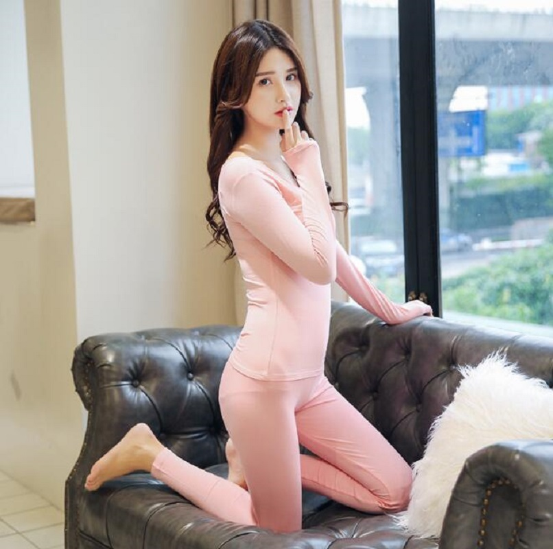 Newly Women Autumn Winter Seamless Thin Inner Wear Set Warm Tops+Pants 2pcs Suit Underwear Set Long Sleeve Elastic Intimates
