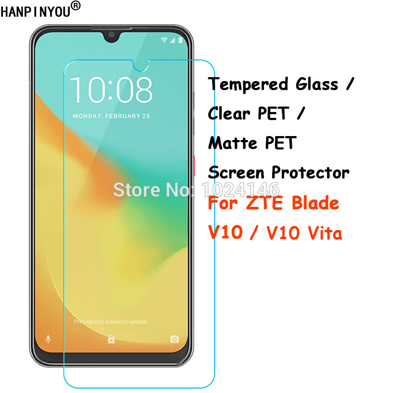 Tempered Glass / Clear PET / Matte PET - Premium Front Screen Protector Protective Film For ZTE Blade V10 / V10 Vita  V10Vita