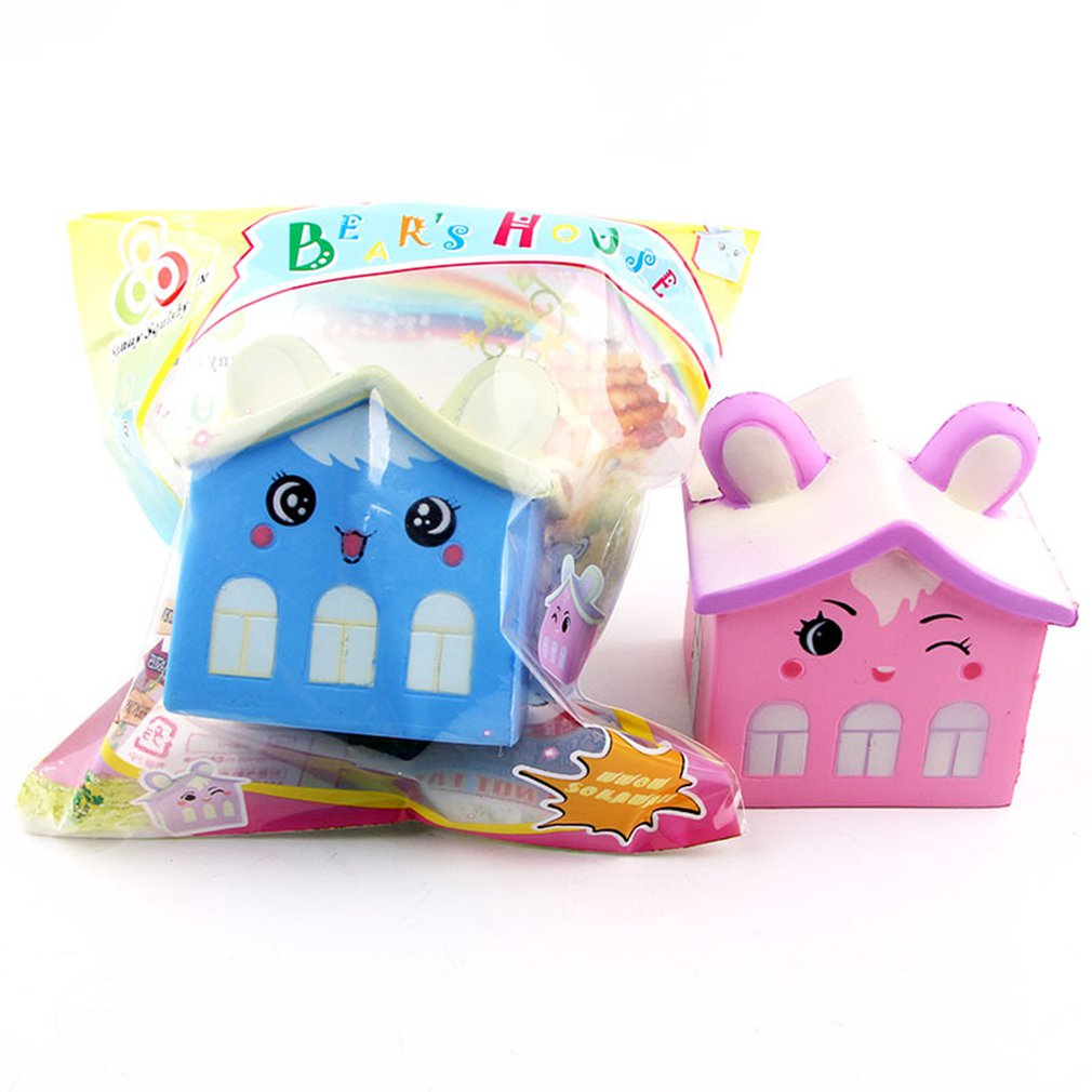 Simulated Cartoon PU Bear House Doll Slow Rebound Decompression Toy Foam Decoration Foam Relaxed Toy Cake Sample Model