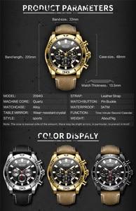 Image 2 - MEGIR הכרונוגרף Mens שעונים למעלה מותג יוקרה רצועת עור קוורץ גברים זכר שעון צבאי צבא ספורט תאריך שעון אריזת מתנה 2094