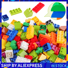 Классические строительные блоки большого размера, горки, фигурки дома, аминолы, искусственный пластиковый замок, совместимые с Duploed, DIY Кирпичи, подарок