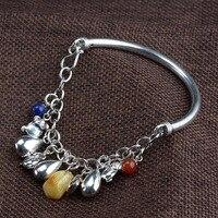 FNJ 56mm bangle Bracelet Vintage Original Pure S925 Silver Bracelets for Women Jewelry Tassel Charm Amber Lapis Lazuli Agate