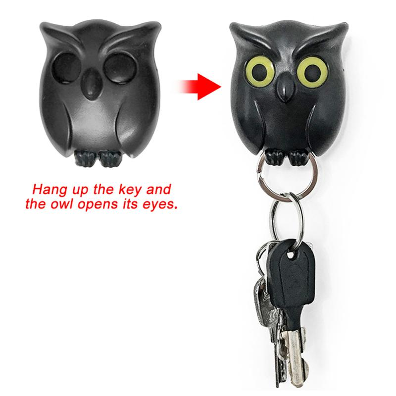 2PCS Black Night Owl Magnetic Wall Key Holder Magnets Keep Keychains Key Hanger Hook Hanging Key It Will Open Eyes Decorative