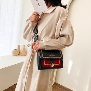 Image 3 - Contrast color Leather Crossbody Bags For Women 2020 Travel Handbag Fashion Simple Shoulder Messenger Bag Ladies Cross Body Bag