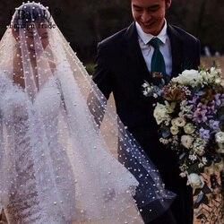 Luxury Wedding Veil with Pearls Fingertip Bridal Veils for Bride Wedding Accessories One Layer Handwork Custom Made