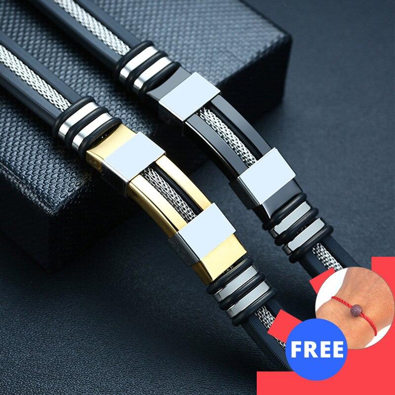Vnox Stainless Steel Bracelet Men Wrist Band Black Grooved Rudder Silicone Mesh Link Insert Punk Wristband Stylish Casual Bangle|Chain & Link Bracelets|   - AliExpress