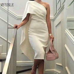 MYYBLE 2020 элегантные бежевые/белые Сатиновые коктейльные платья на одно плечо, вечерние платья длиной до середины икры, платья для выпускного ...