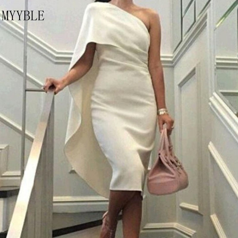 MYYBLE 2020 Elegant Beige/White One Shoulder Satin Cocktail Dresses Tea Length Party Dresses Prom Gowns Robe De Soriee Customed