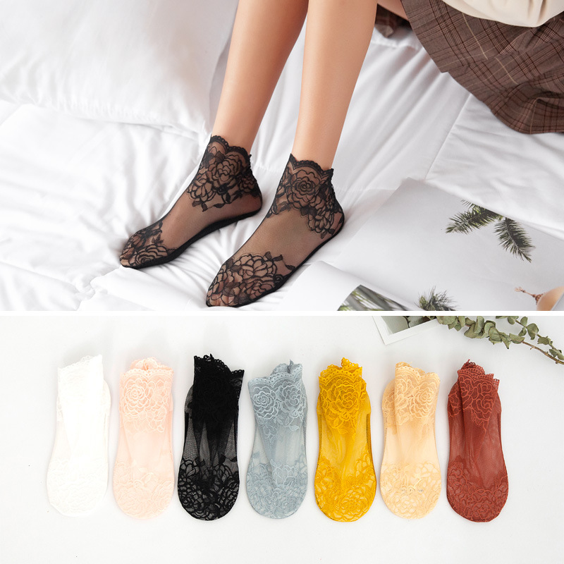 1 Pair Women Socks Summer New Colorful Floral Lace Ankle Socks Palace Style Thin Transparent Socks Solid Cute Socks