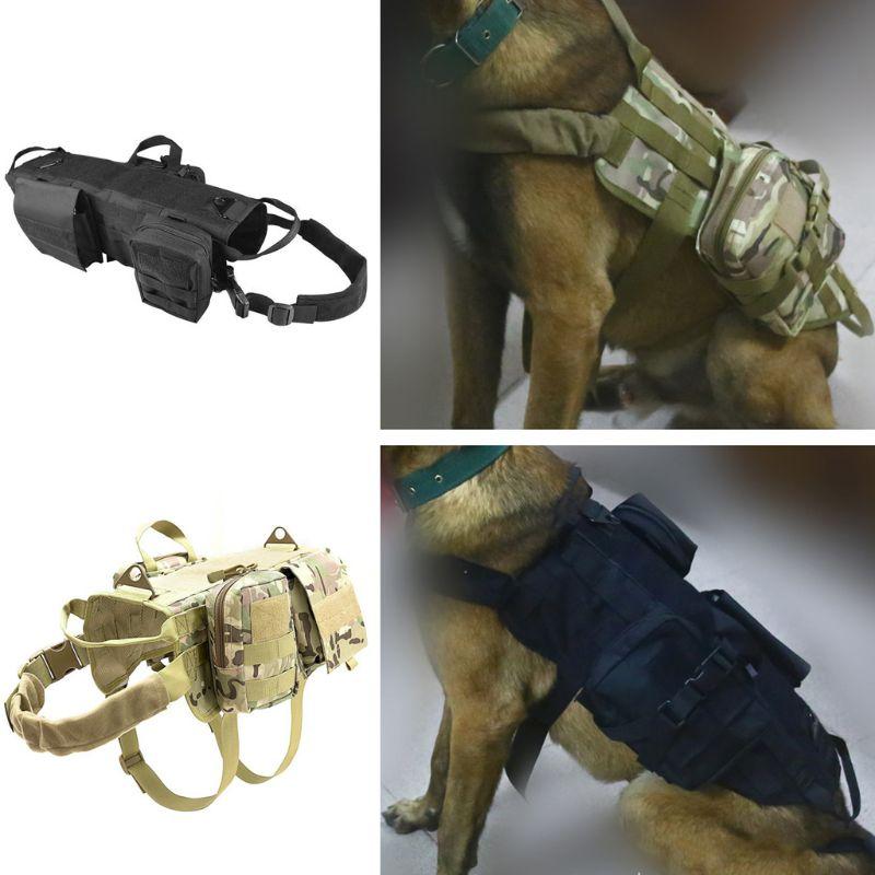 Image 3 - Tactical Dog Training Vest Harness Detachable Pouches Military K9  Harness Large Dog Training EquipmentDog Vests