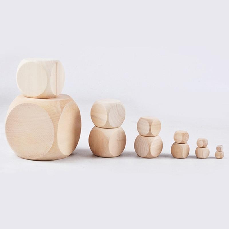 10 шт. 6-сторонние пустые деревянные игральные кости для вечевечерние НКИ, семейные игры «сделай сам», печать, гравировка, детские игрушки, ку...
