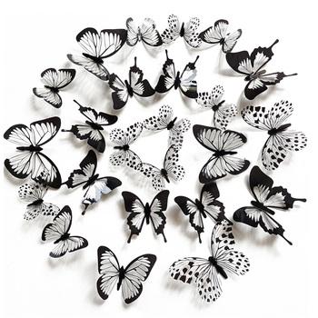 24 sztuk zestaw czarny biały 3D naklejka na ścianę z motylem dekoracje ślubne sypialnia salon Home Decor motyle naklejki naklejki tanie i dobre opinie HonC CN (pochodzenie) 3d naklejki Nowoczesne Naklejki na meble Do lodówki For Wall Paczka z wieloma częściami Zwierząt