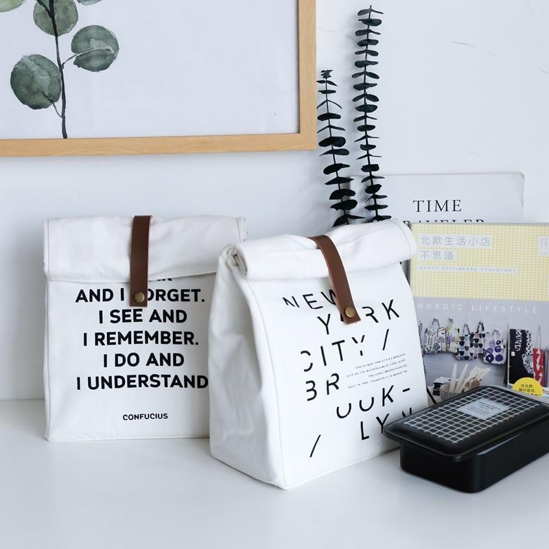 ><font><b>Nordic</b></font> <font><b>Letter</b></font> <font><b>Style</b></font> Storage Bags Portable Lunch Box Insulation Bags Picnic Cloth Bag Food Fresh Bento Pouch Kitchen Organizer