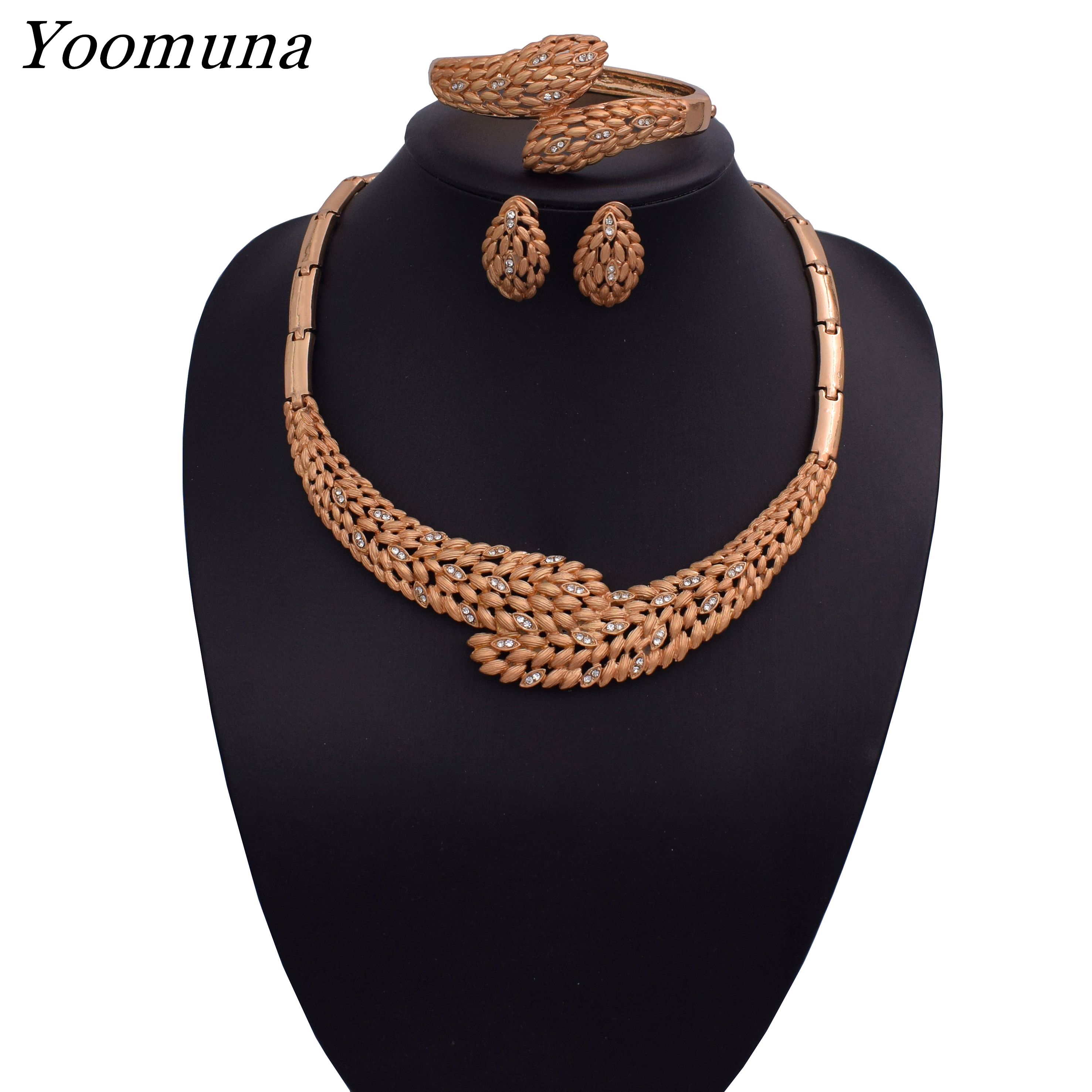 Fashion African Dubai Gold Jewelry Women Beads Set Nigerian Bridal Sets Wedding Accessories 2019