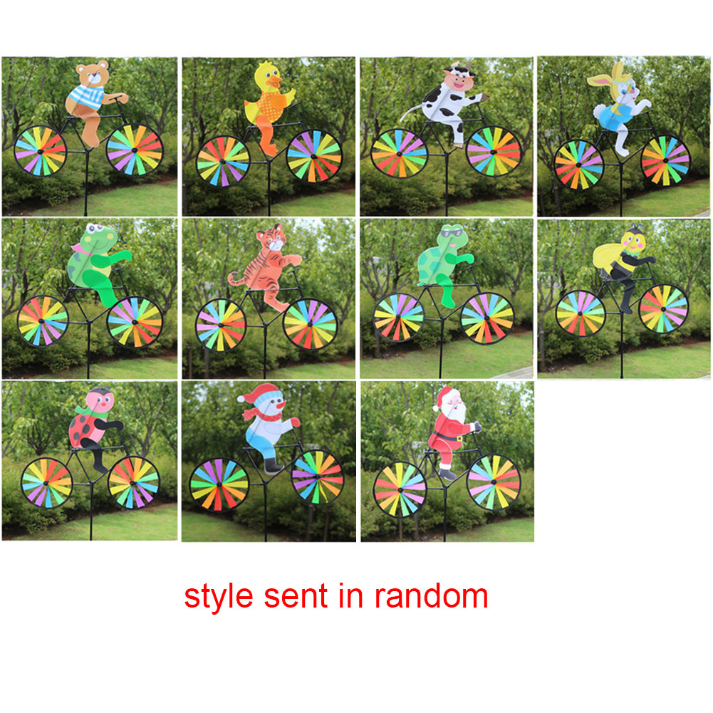 Classic Toy Rainbow Home Ornament Pinwheels Bike Cute Wind Spinner Funny Animal Pattern Strip Shape Kids Gift Windmill Garden
