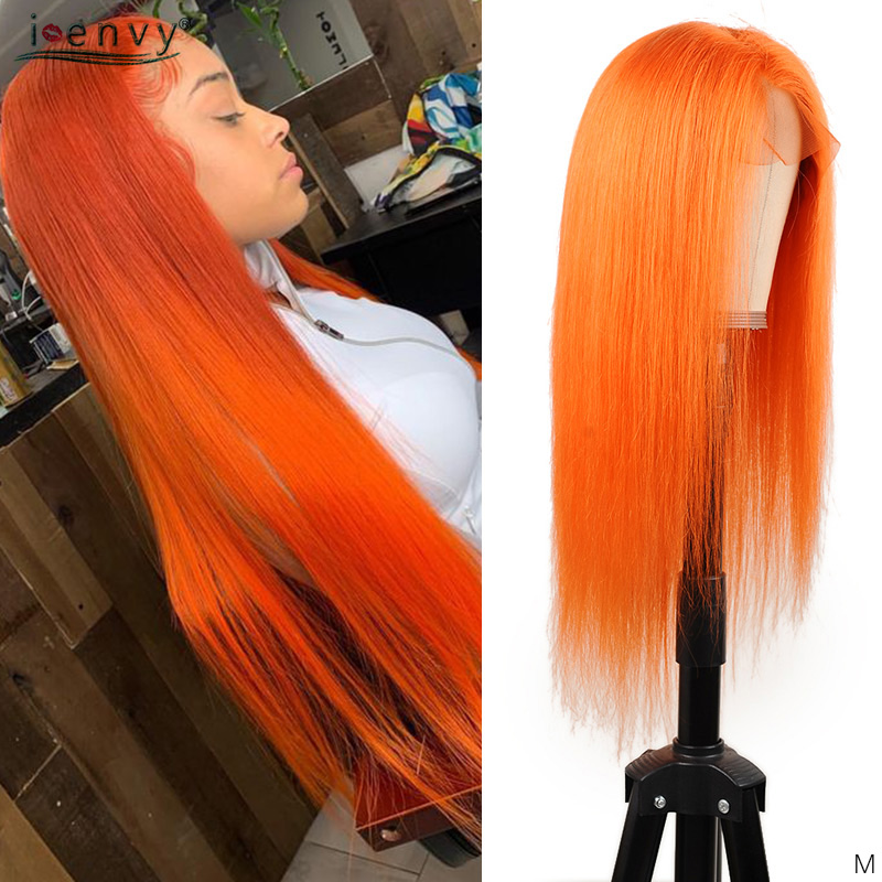 Orange Full Lace Human Hair Wigs Straight Pre Plucked Brazilian Remy Ombre 613 Blonde 360 Full Lace Wigs For Black Women 150%