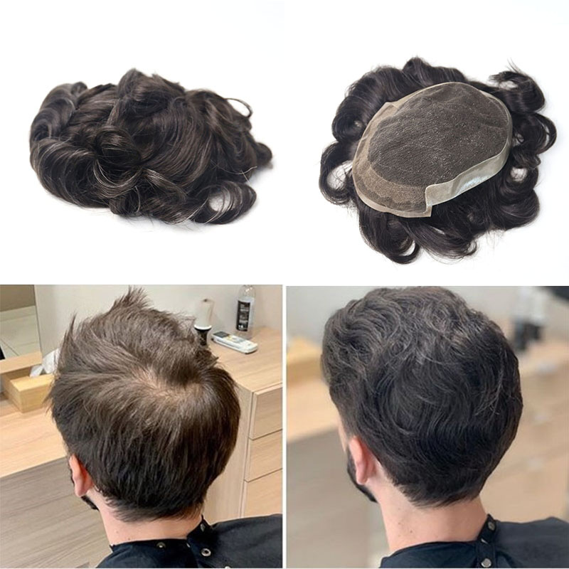 Men's Toupee Hair Replacement Systems 100% Natural Remy Hair 7x10 Inches Lace Base With Thin PU Rosa Queen