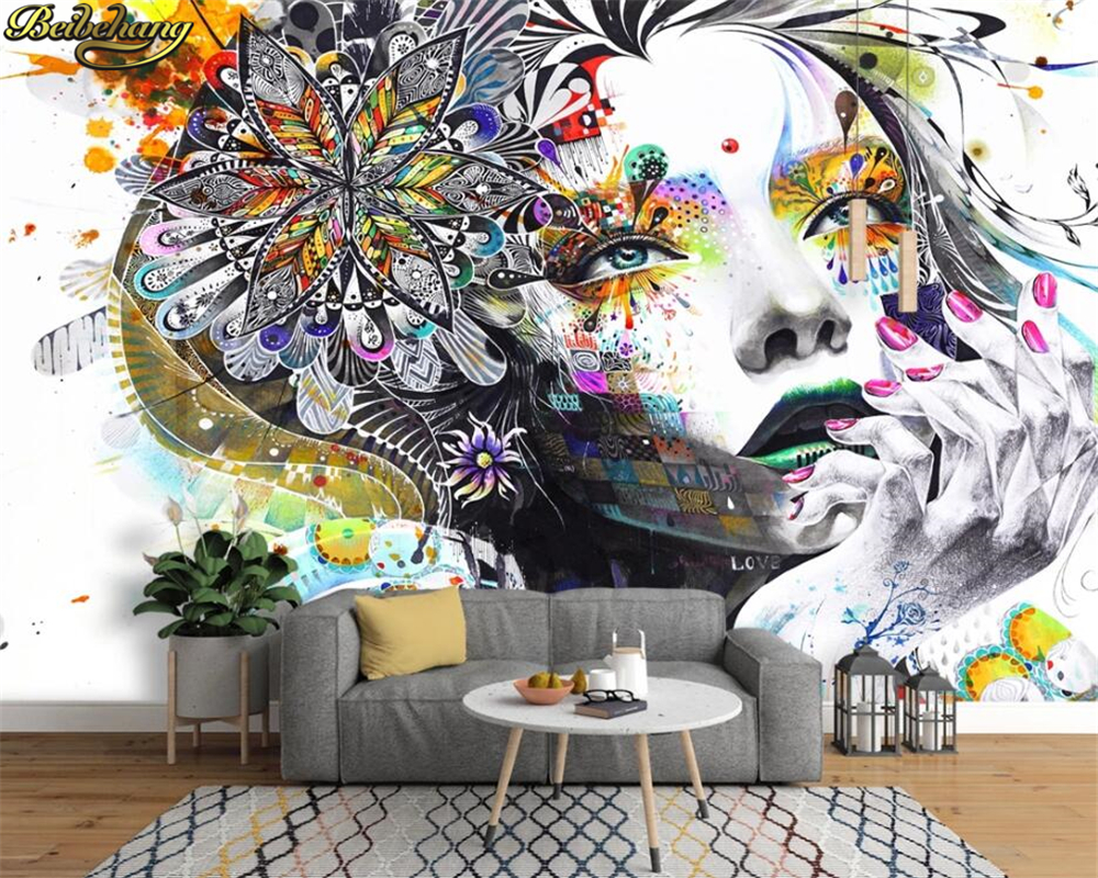 Beibehang Custom Mural Wallpaper Color Hand Painted Abstract Graffiti Beauty Art Background Photo Wallpaper Living Room Bedroom