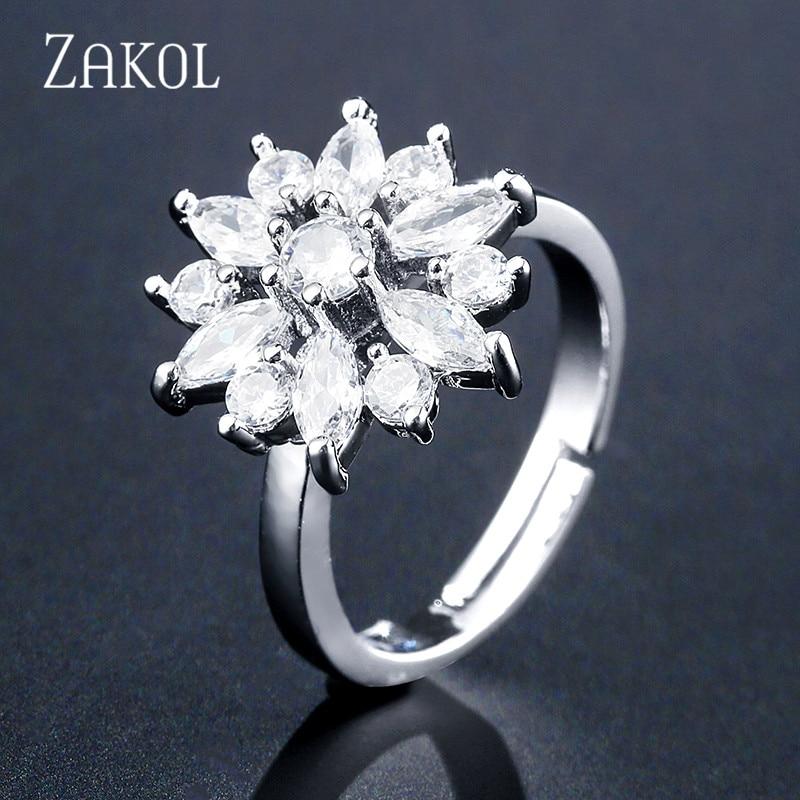 ZAKOL Мода розовое золото Цвет цветок обруч серьги кластера прозрачного хрусталя циркония серьги для Для женщин ювелирные Brincos FSEP609 - Окраска металла: White Ring