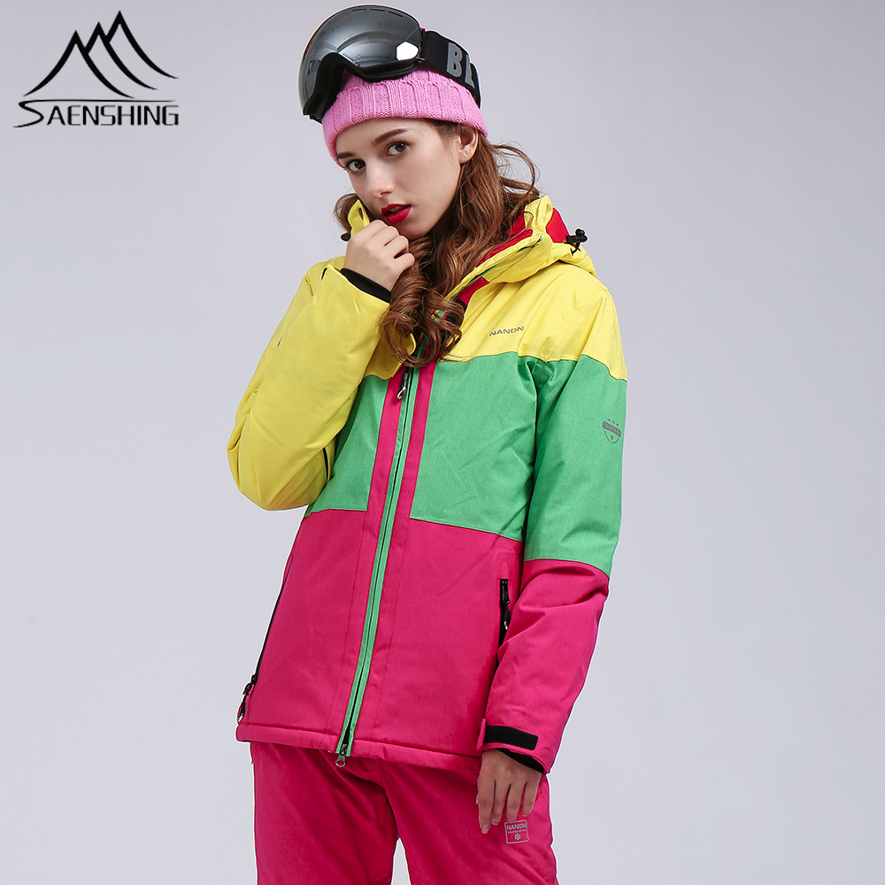 SAENSHING Ski Jacket Women Snowboard Jacket Waterproof Snow Jacket Ski Sportswear Breathable Super Warm Winter Ski Suit Coats