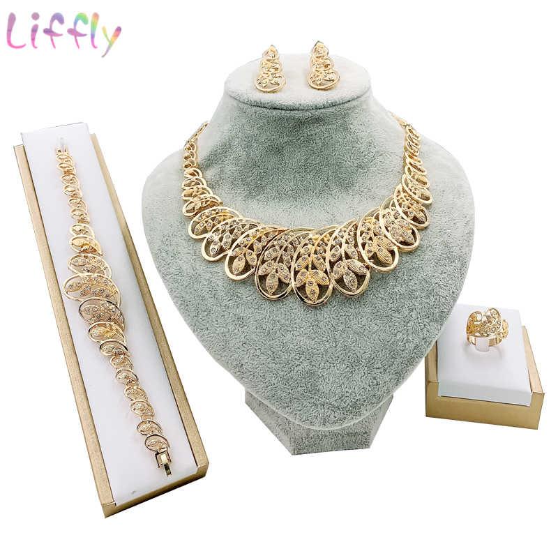 Dubai Gold Schmuck Sets für Frauen Kristall Blatt Form Schmuck Klassische Stil Halskette Ohrringe Ohrringe Armband Braut Schmuck