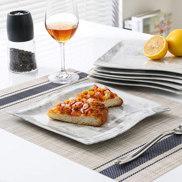 MALACASA Flora 30-Piece Marble Porcelain Dinnerware Set with 6*Dinner Plate,Dessert Plate,Soup Plate,Cups&Saucers Tableware Set 3