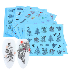 16pcs Nail Design Stickers Set Christmas Pattern Water Transfer Decals Sliders Manicure Nail Art Decorations LASTZ1066-1081