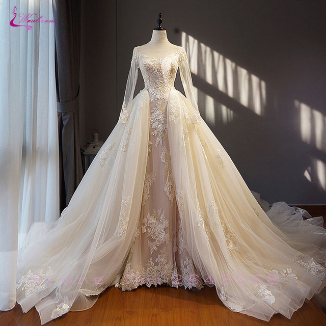Waulizane Chic Organza Bridal Gowns Exquisite Embroidery Appliques O-Neck 2 In 1 Detachable Train Wedding Dress Customize Made 2