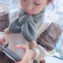 Korean Lambswool Solid Soft Warm Autumn Winter Thick Kids Children Boys Girls Cross Rings Shawls Scarves Accessories-LHC children autumn and winter warm clothes boys and girls thick cashmere sweaters