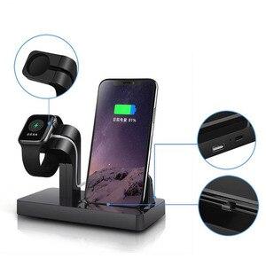 Image 3 - Apple i watch 용 무선 충전기 5 2 3 4 iphone 8 7 6 s plus xr x xs 11 pro max 충전기 독 2 in 1 무선 충전기 패드 스탠드
